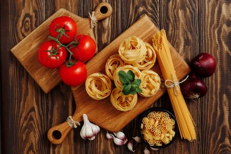 Italian food ingredients for Spaghetti Bolognese