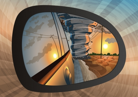 storm damage: Illustration of a tornado in rear-view mirror  Illustration