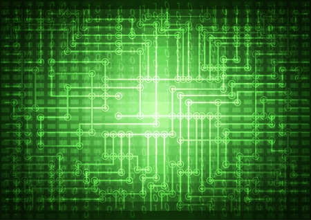 Abstract green technology background illustration with binary code. Vector