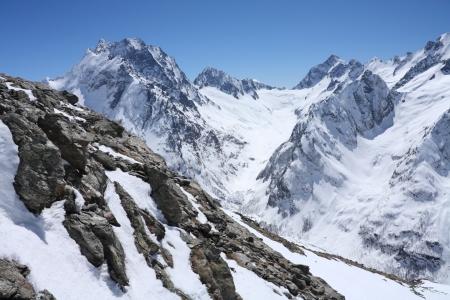 large rock: Mountains - Dombay, Main Caucasian ridge, abt. 4000m.