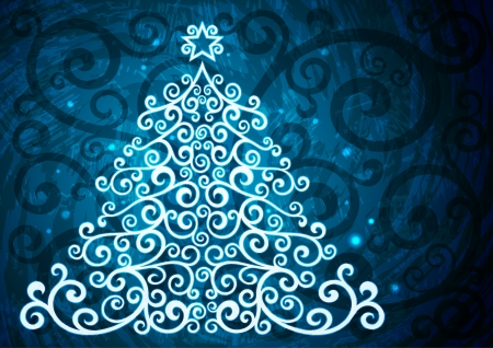 Blue christmas vector floral illustration  Vector