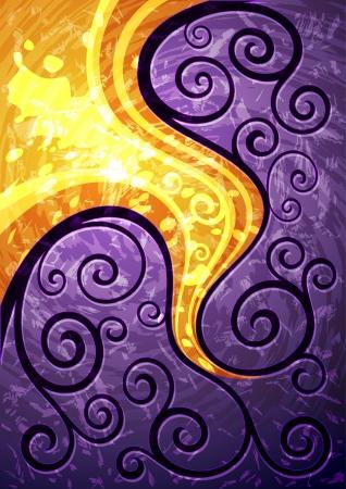 背景デザイン: 紫の抽象的なベクトル花のイラスト
