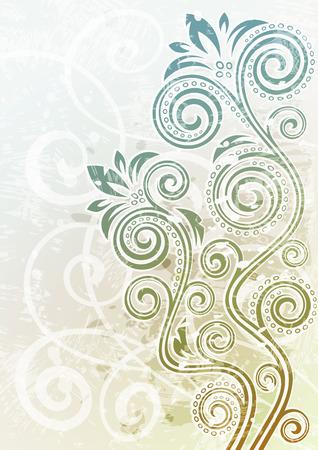 curled up: Abstract vintage floral grunge illustration. Illustration