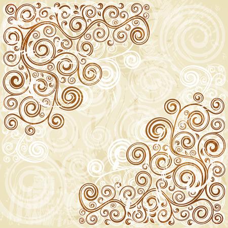 curled up: Vintage floral backdrop Illustration