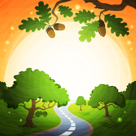 terrain: Background illustration landscape with sun and road.