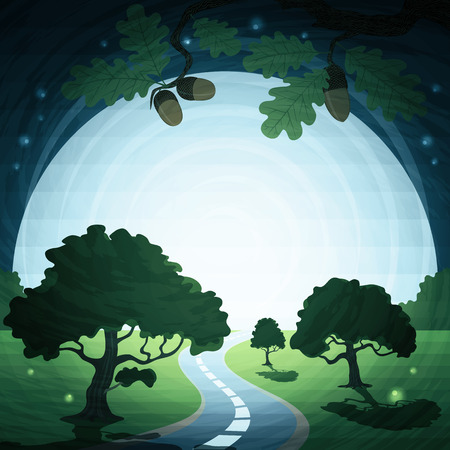 acorn tree: Background illustration landscape with moon and road.