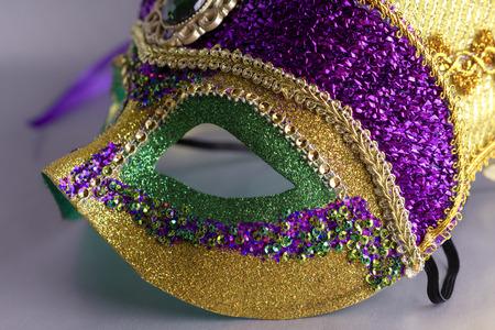Close up of Jester Mask.  Mask only.  Grey background.
