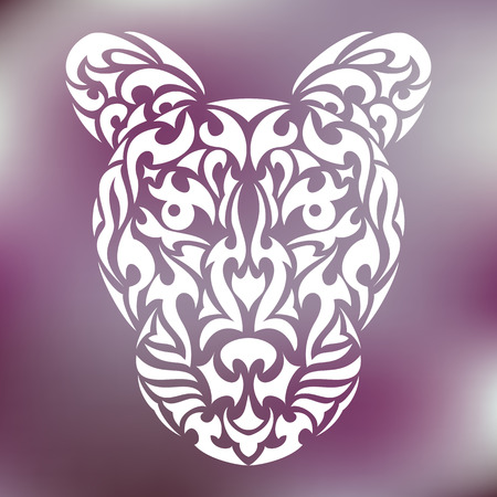 wildcat: Leopards head in tribal design for tattoo or print