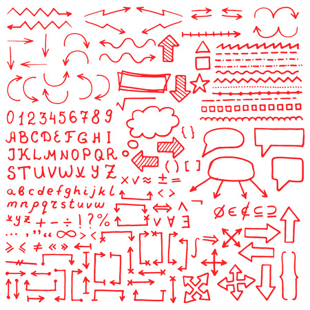 red hand: Huge set of red hand drawn elements. Arrows, lines, graphics, letters, math signs and others.