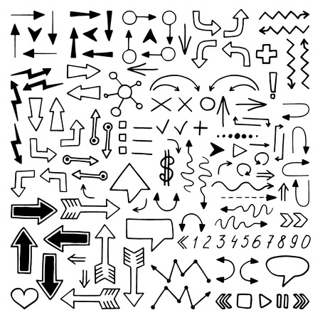 Huge set of hand drawn elements. Arrows, lines, graphics, letters and others. Vector