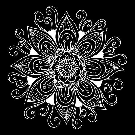 mandalas: Black and white hand drawn flower. Background or element for card, textile, poster, invitation or wallpaper. Illustration