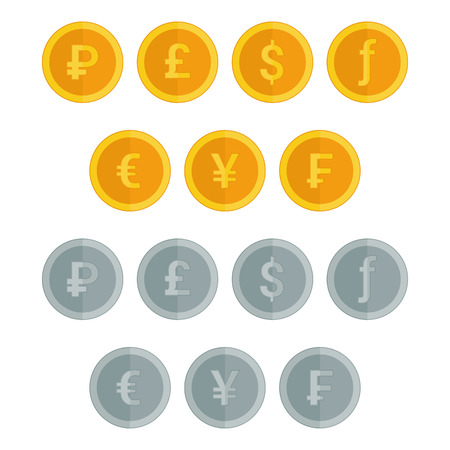 florin: Set of coin icons in flat style. Illustration