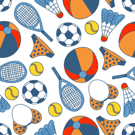 Abstract seamless pattern with hand drawn summer elements. Vector