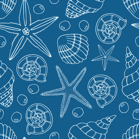 Abstract seamless pattern with hand drawn seashells pearls and starfish. Background for cards wrapping paper or textile. Vector