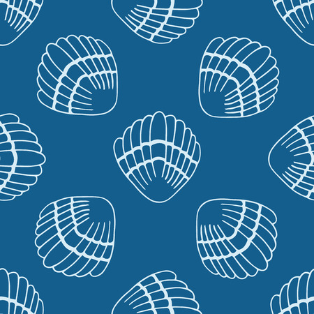 Abstract seamless pattern with hand drawn seashells Vector