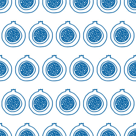 exotic fruits: Abstract seamless pattern with exotic fruits. Elegant background for cards, textile, print or wrapper paper. Blue and white endless pattern. Illustration