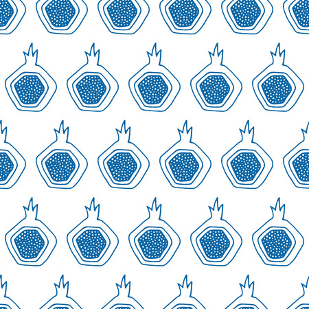 guava fruit: Abstract seamless pattern with exotic fruits. Elegant background for cards, textile, print or wrapper paper. Blue and white endless pattern. Illustration