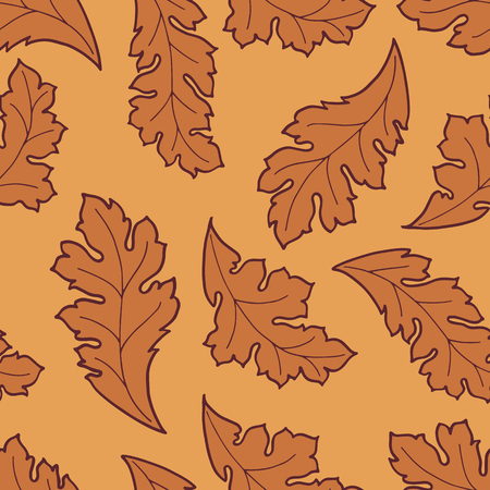autumn leafs: Seamless pattern with autumn leafs. Elegant background with brown leafs for textile, print or wallpaper. Illustration