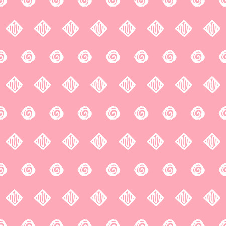 tender: Abstract seamless pattern with simple hand drawn circles and squares. Elegant background for cards, textile, print or wrapper paper. Pink and white endless pattern.