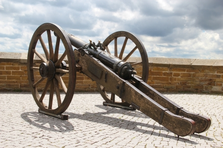 Antique wheeled cannon guarding Hohenzollern Castle, Germany
