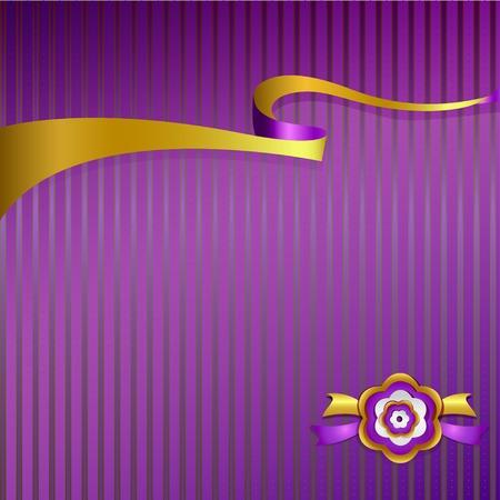 purple silk: Cinta prima de seda p�rpura de oro EPS10 Vectores