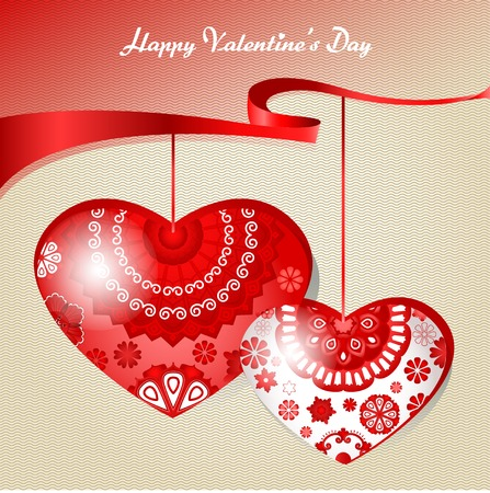 ornamented: Vector two ornamented heart, red ribbon