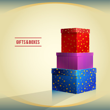 celebrate life: Vector gifts and boxes, red, purple, blue