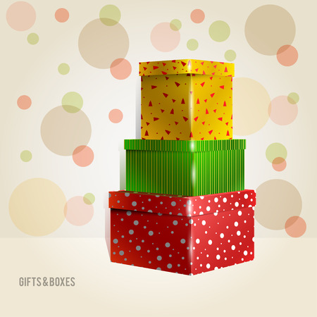 rounds: Vector three yellow, green, red, purple with rounds Illustration