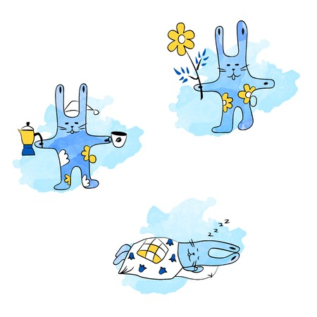 daily routine: Hares and daily routine sleeping coffee walk Illustration