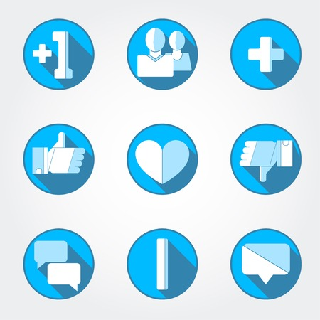 messege: Vector set in flat style. Blue icons. Illustration