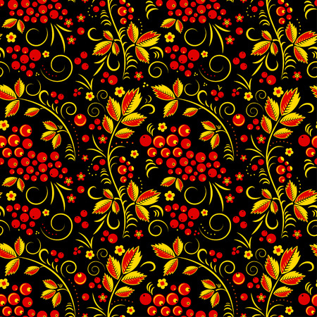 tradition: Khokhloma vector seamless pattern in russian tradition, rblack background
