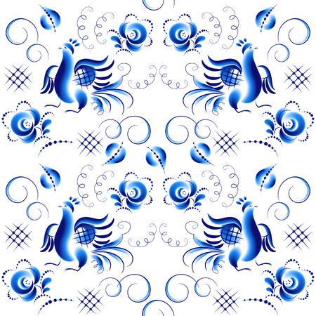 gzhel: Vector seamless pattern in Russian Gzhel style