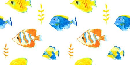 surgeon fish: Modelo incons�til del vector peces de acuario de agua marina de la acuarela Vectores