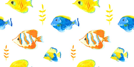 Vector seamless pattern watercolor seawater aquarium fishes Vector