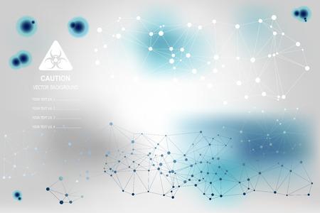 science fiction: Vector achtergrond met blauwe moleculen in science fiction stijl