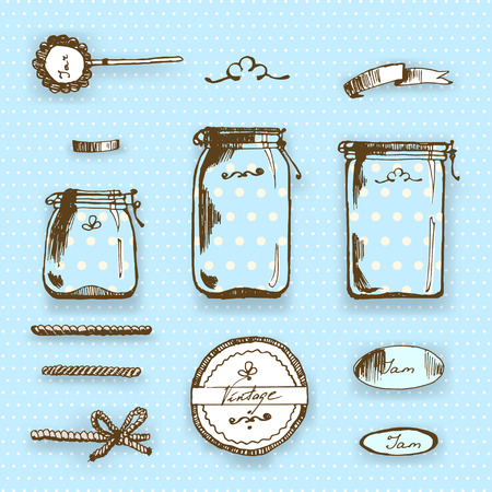 marmalade: Vector hipster set in vintage hand-drawing style. Pots and labels Illustration