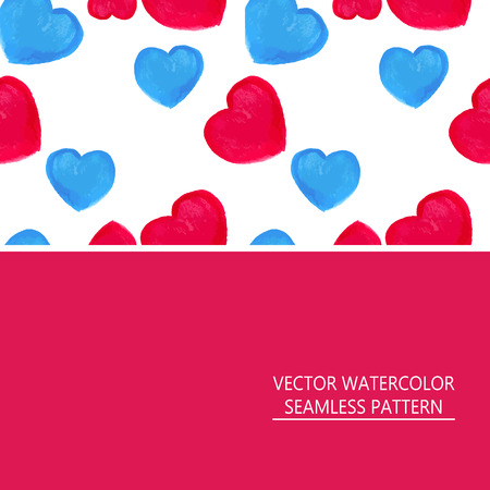 corazones azules: Vector acuarela sin patr�n de corazones rojos y azules