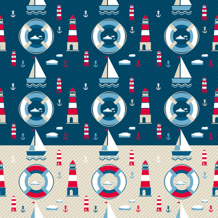 titanic: vector seamless pattern with yacht and lifebuoy