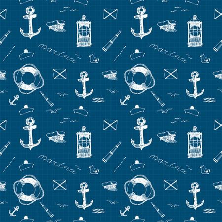 titanic: Vector seamless pattern on the marine theme white pen