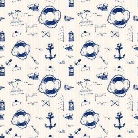 titanic: Vector seamless pattern on the marine theme pen