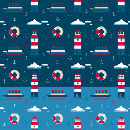Vector seamless pattern of sea with lighthouse Illustration
