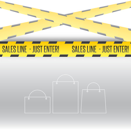 police line: Vector comic yellow police line for sales with bags