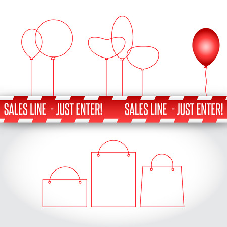 jokes: Vector comic red caution line for sales. Bags and balls Illustration