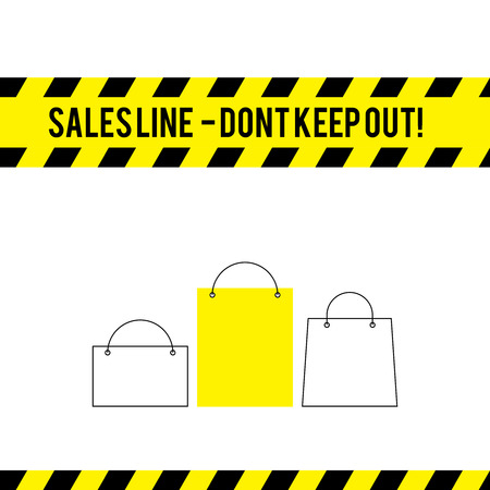 jokes: Vector simple comic yellow caution line for sales with bags