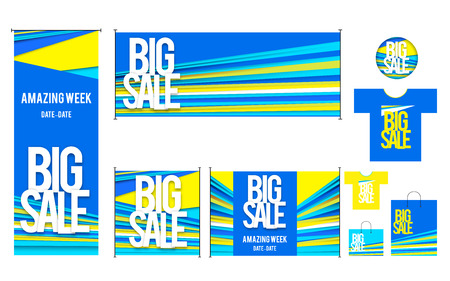Vector set of template for Big sales design. Yellow and blue Vector