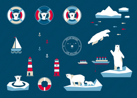 navy blue background: Vector polar bears set on navy blue background