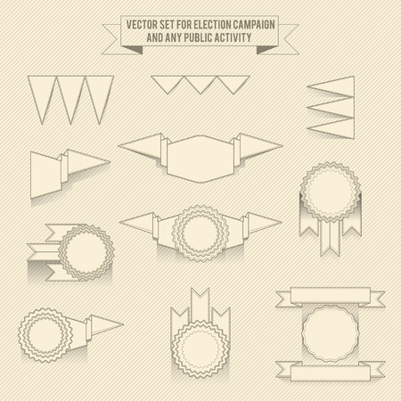 propaganda: Set of vector monochrome linear elements for design infographic Illustration