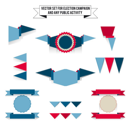 tricolor: Set of vector tri-color elements for design infographic. White background, blue and red colors Illustration