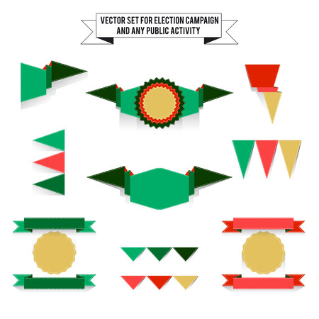 tricolor: Set of vector tri-color elements for design infographic. White background, green and red colors
