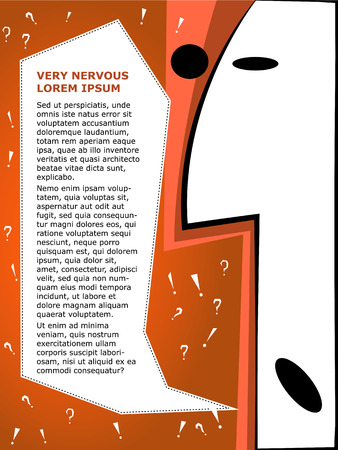 temperament: Corporate brochure template. Team building and emotions, nervous Illustration